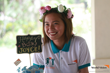 Joyce Pring celebrates birthday with World Vision kids