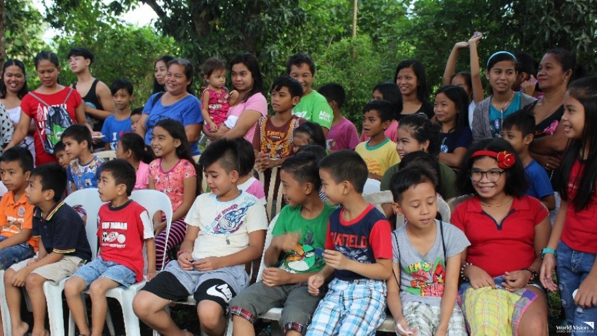 2b1c7d36b552 Cheerful Children of Batangas. Children make fun of each other while  waiting for the program to start.