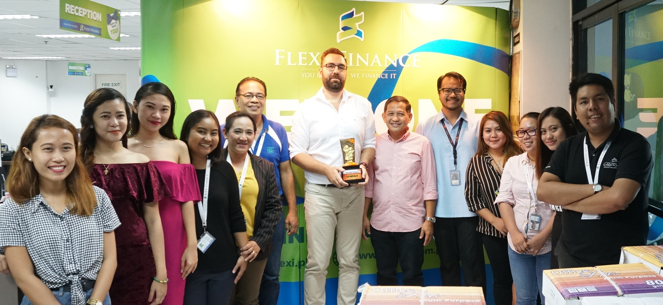 Cebu City – World Vision Development Foundation awarded the One For Children seal to Flexi Finance Asia, Inc. during a Project Salute ceremony held last July 9, 2019. WVDF Associate Director for Visayas Operations Ernesto I. Macabenta and Corporate Engagement Specialist Rafael Quimel handed over the plaque, which in turn was received by Richard Lorincz, the Chief Marketing Officer of Flexi Finance Asia, along with some of the company staff.