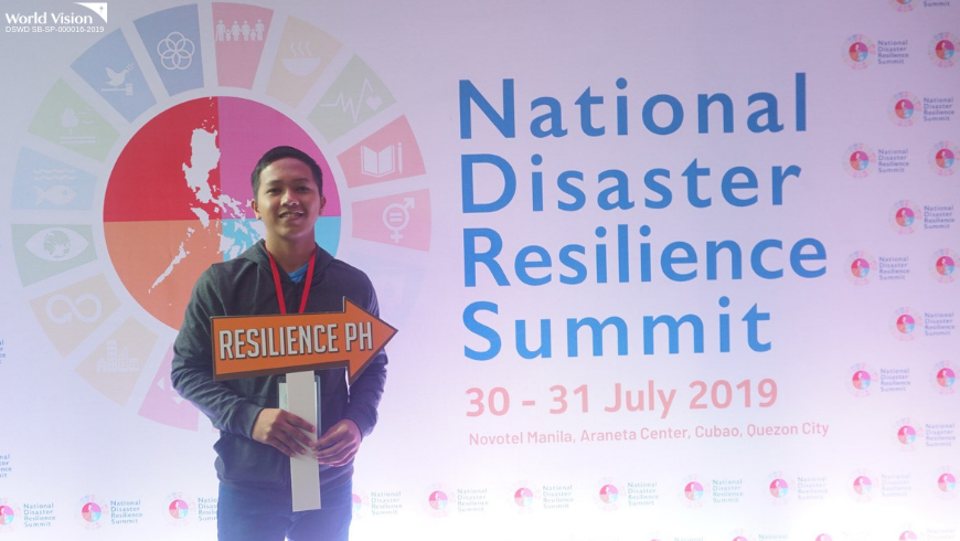 Christian, a World Vision child leader from Misamis Occidental, is excited to be part of the event. He is also a DRR advocate in his community.