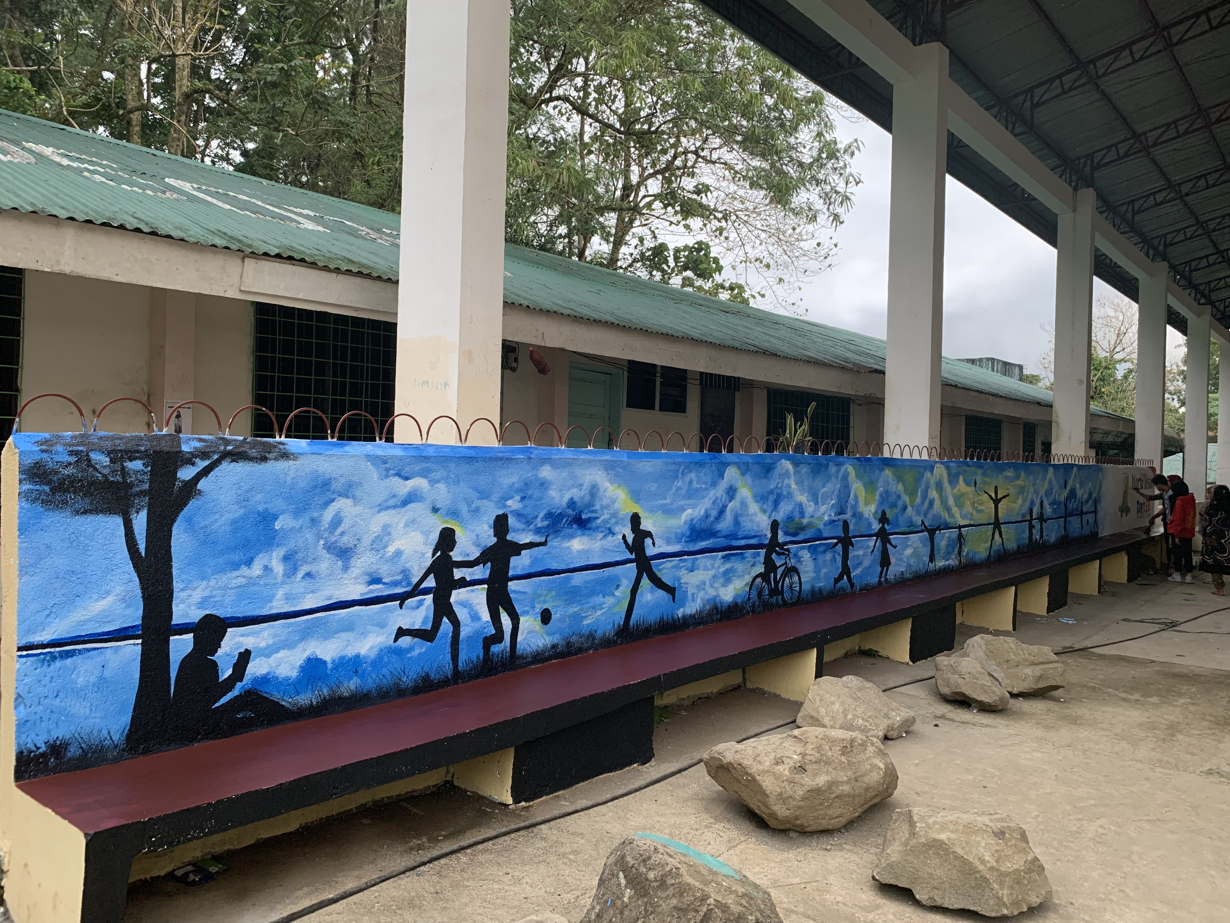 As part of World Vision's goal to promote child safety and peace, playgrounds and mural benches are set up in Marawi City.