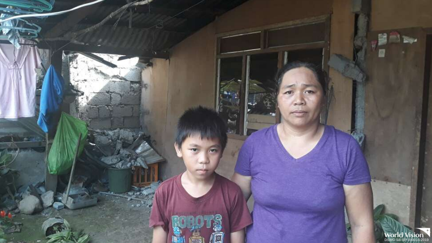 "Jayson and her mother scouted their house after the earthquake stopped and discovered major damages in their living and comfort rooms. ""I'm sad that our home was damaged. I pray that the earthquake will never happen again because I'm scared of it,"" the boy said."