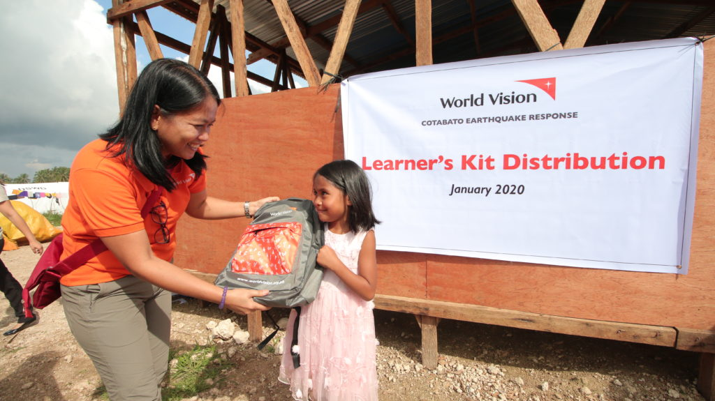 Sending hope to quake-affected children through schoolbags and psychosocial activities